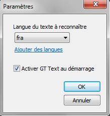 reconnaissance texte dans image Sélectionner la langue